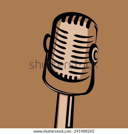 retro microphone silhouette on brown background . vector illustration. vector music background - stock vector