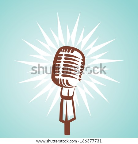 retro microphone symbol - stock vector