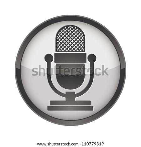 Retro microphone vector icon. - stock vector