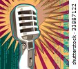 Retro microphone with abstract elements. Vector illustration. - stock vector