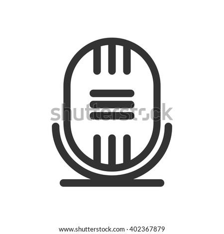 Retro microphoneline icon, outline vector illustration, linear pictogram isolated on white