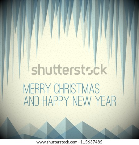 Retro minimalistic Christmas card with icicles and snowy mountains - stock vector