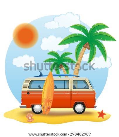retro minivan with a surfboard on the beach vector illustration isolated on white background - stock vector