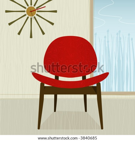 Retro-modern red chair and clock; colorful and stylized. Each item is grouped so you can use them independently from the background. Easy-edit layered file. - stock vector
