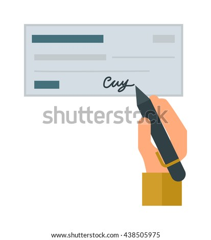 Retro money check gift certificate white background. Good money check design. Customizable money check and people hand with pen. Money check bank financial paper cheque payment vector blank. - stock vector