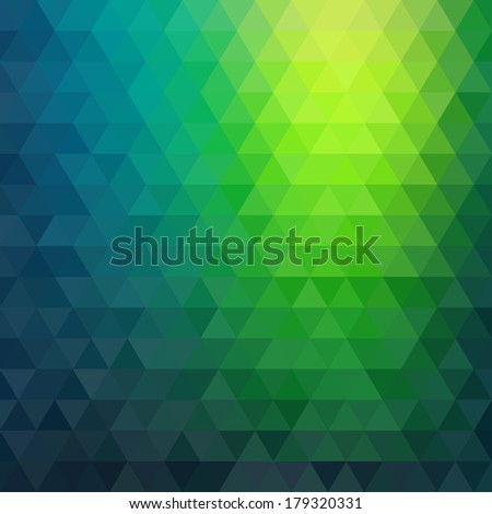 Retro mosaic pattern of geometric texture from triangle shapes, abstract vector background illustration - stock vector