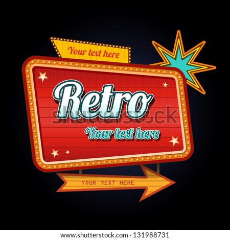 Retro motel sign with copyspace - stock vector