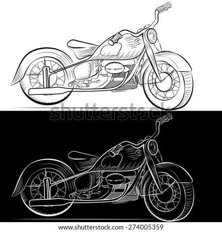 Retro motorcycle painted in black and white graphics in two versions. Vector illustration - stock vector