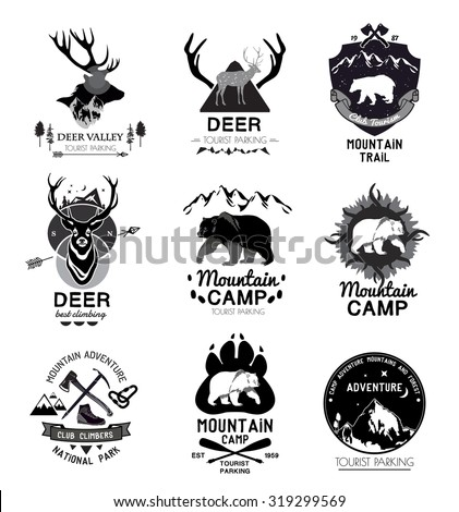 Retro mountain Design elements. Vintage retro style. Abstract badges. Outdoor symbol. Mountain logotypes. Badges, frame, vintage, grunge, retro. Wild animals logo. Tourist symbols - stock vector