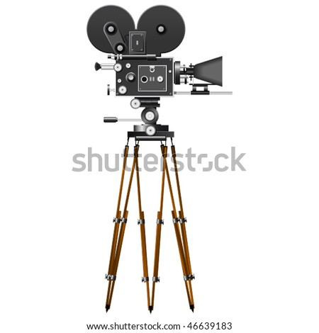 Retro Movie Camera isolated on the white - stock vector