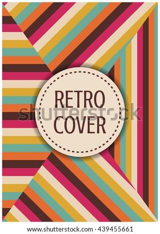 retro multicolor cover, 4 in 1, A4 size - stock vector