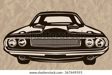 Vintage Muscle Cars Inspired Cartoon Sketch Stock Vector