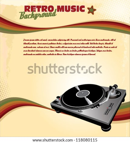 Retro music background - stock vector