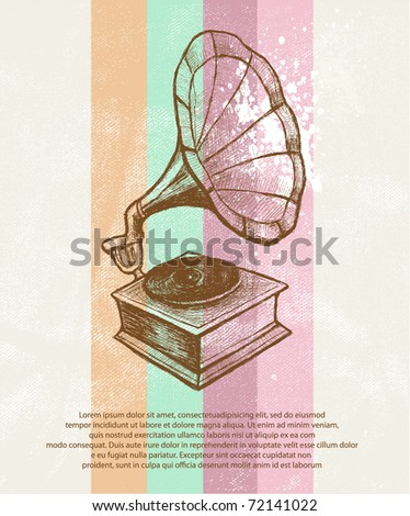 Retro music background. Gramophone - stock vector