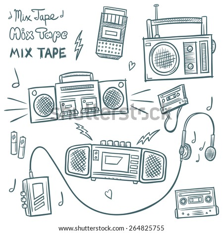 Retro Music Doodles - stock vector