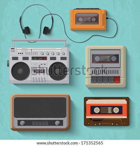 Retro music player icons. Vector illustration 2  - stock vector