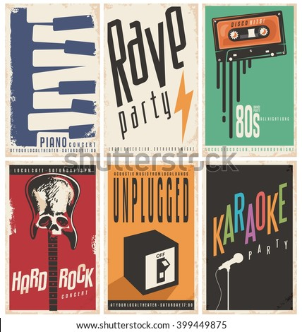 Retro music posters collection. Vintage signs set on old paper texture. Music concerts and party design concepts on damaged background template.