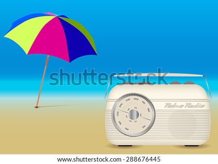 Retro Music Summer Background - Beach Umbrella and Old Radio on Empty Sandy Beach - stock vector