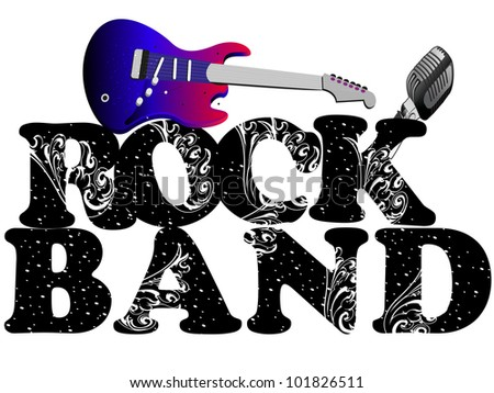 Retro musical background with guitar and microphone and floral decorative text rock band isolated on white background. EPS 10. vector illustration. - stock vector