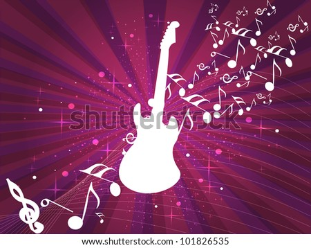 Retro musical background with guitar and musical notes on abstract rays and wave background for disco party and other events. EPS 10. vector illustration. - stock vector