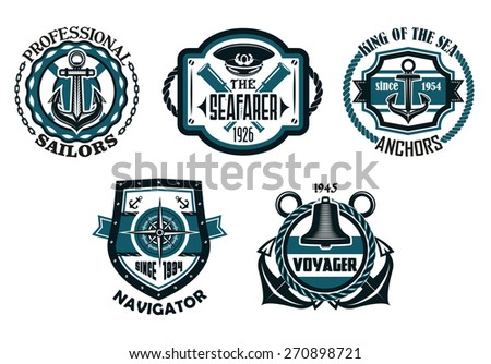 Retro nautical emblems or badges in blue colors with anchors, compass, captain cap, ancient spyglasses,  rope frames, chains, life buoy and shield - stock vector