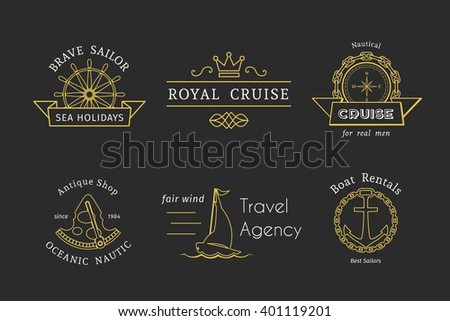 Retro nautical labels and icons. Vector templates for logo design of travel agencies, tourist offices, boat rental or cruise. - stock vector
