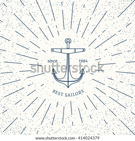 Retro nautical lineart label with anchor. Vector template for logo design of travel agencies, tourist offices, boat rental or cruise. - stock vector