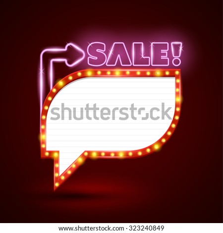 Retro neon sale glowing banner. Vector illustration. Can use for promotion advertising. - stock vector