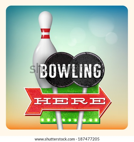 Retro Neon Sign Bowling lettering in the style of American roadside advertising vintage style 1950s - stock vector
