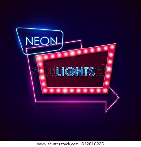 Retro neon sign. Vector illustration. - stock vector