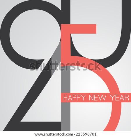 Retro New Year Card - 2015 - stock vector