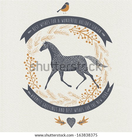 Retro 2014 New Year card design - stock vector