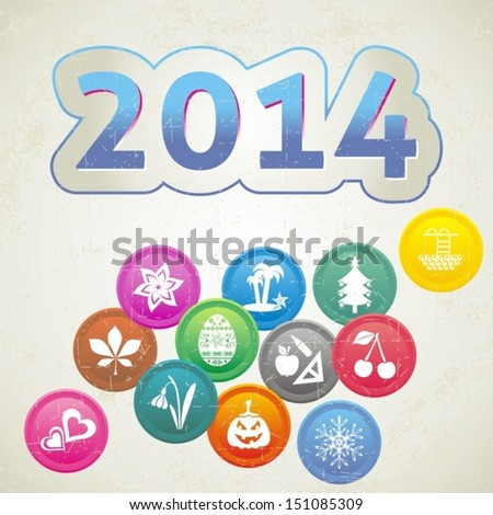 Retro New Year 2014 card with set of month symbols
