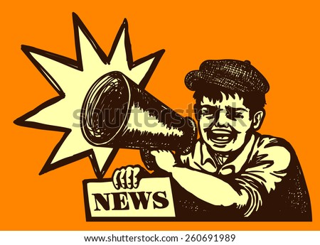 Retro newspaper vendor kid screaming with megaphone, breaking news, bumper edition - stock vector