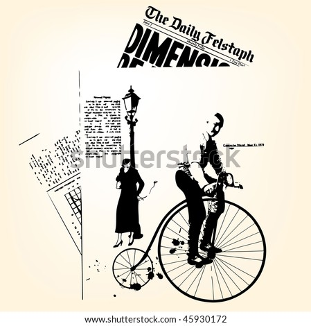 Retro newspapers with man on velocipede - stock vector