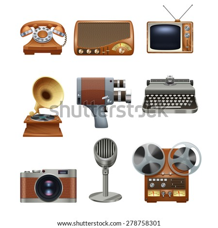 Retro nostalgic pictograms collection of antique mechanical typewriter and gramophone vinyl records player abstract isolated vector illustration - stock vector