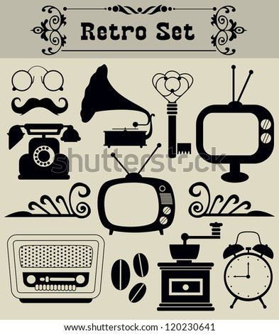 retro objects set. vector illustration - stock vector