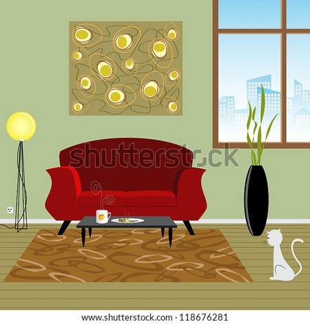 Retro of interior living room - stock vector