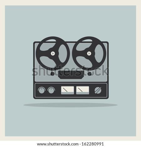Retro open reel tape deck stereo recorder player vector - stock vector