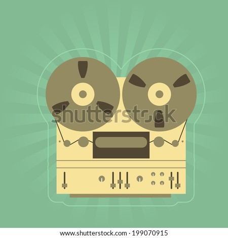 Retro open-reel tape recorder (magnetophone) - stock vector