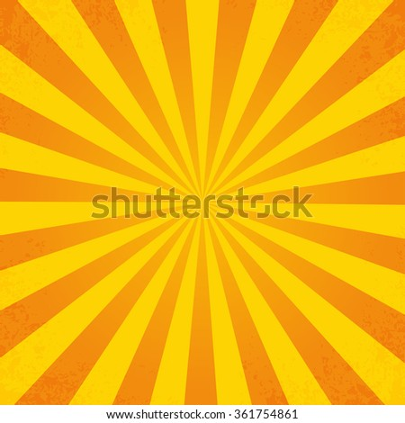Retro orange background ray in vintage style  with dirt - stock vector