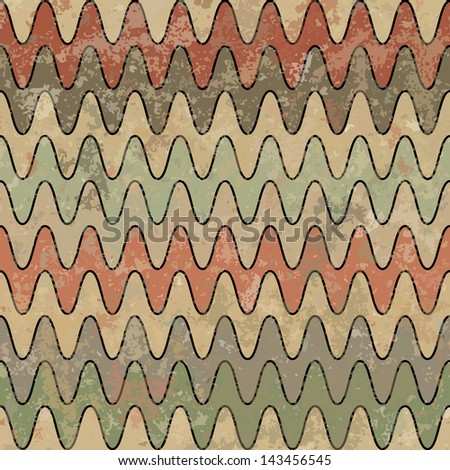 Retro ornamental grungy background with waves. Vector illustration - stock vector