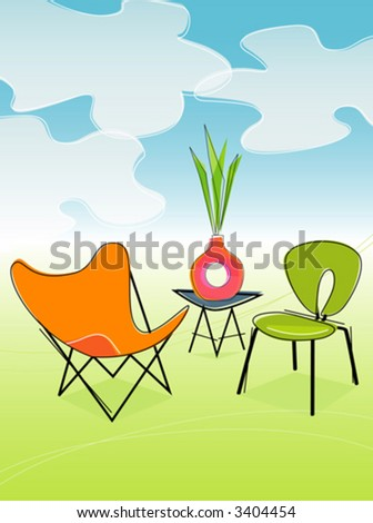 Retro Outdoor Patio Seating. Each item is grouped so you can use them independently from the background. Layered file for easy edit--no transparencies or strokes! - stock vector