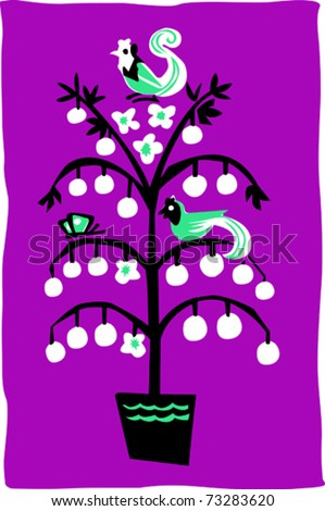 Retro Partridge in a Pear Tree - 12 Days of Christmas Vector Illustration - stock vector