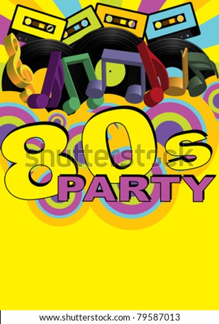 Retro Party Background - Audio Cassette Tapes and Vinyl Records - stock vector