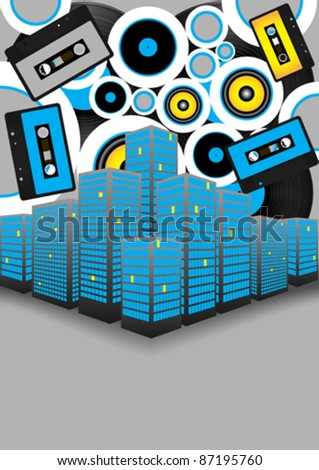 Retro Party Background - Audio Tapes, Vinyl Records and Skyscrapers on Grey Background - stock vector