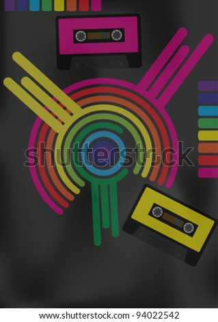 Retro Party Background - Retro Audio Tapes and Multicolor Shapes - stock vector