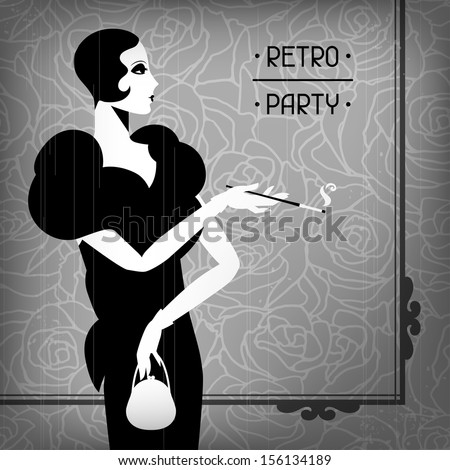 Retro party background with beautiful girl of 1920s style. - stock vector