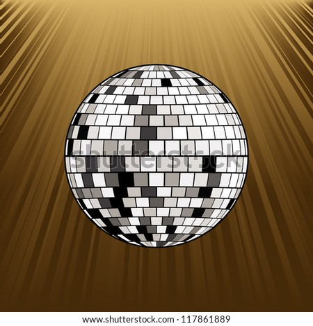retro party background with disco ball - stock vector