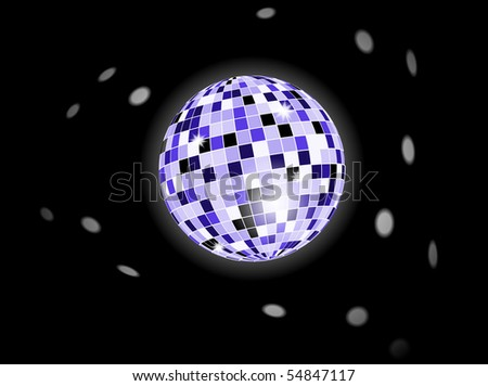 retro party background with disco ball, illustration - stock vector
